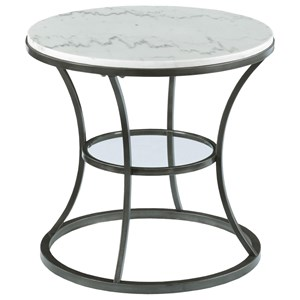 round end table with marble top and glass shelf