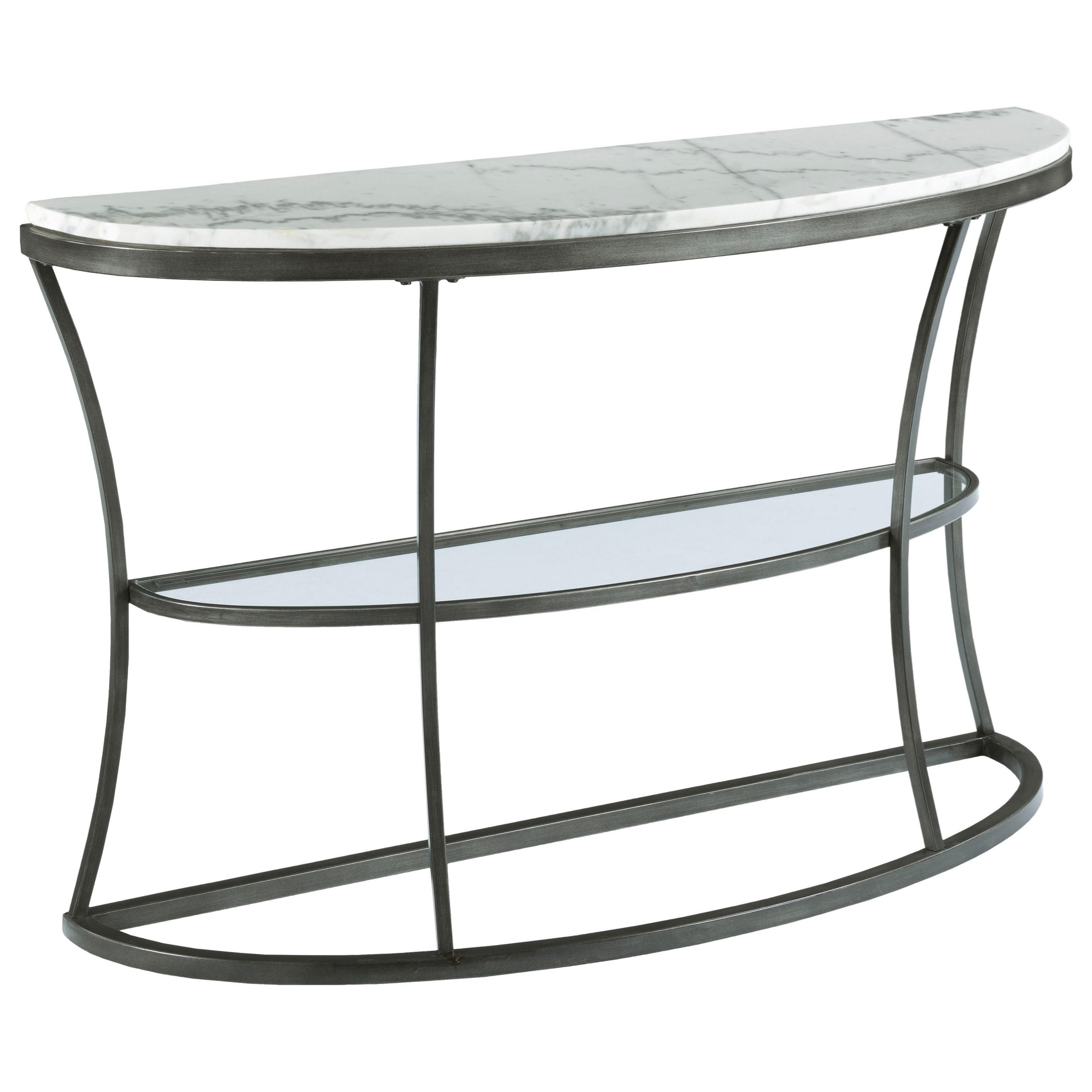 Demilune console table with marble top and glass shelf by hammary demilune console table with marble top and glass shelf geotapseo Gallery