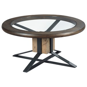 Compass Cocktail Table with Tempered Glass Top