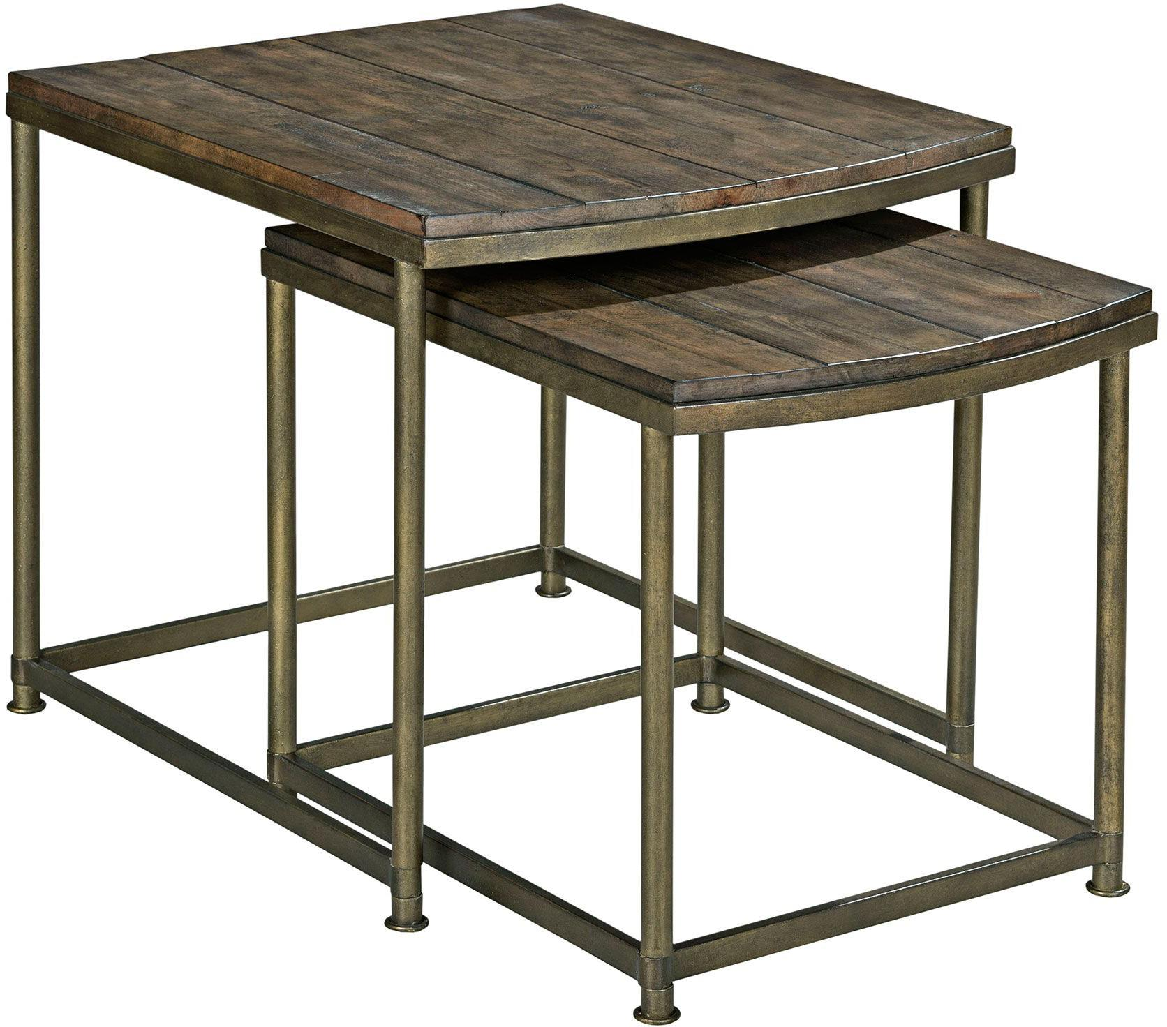Nesting End Table With Antique Brass Base