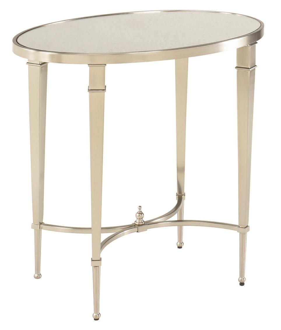 Antique Silver Nickel Oval End Table By Hammary Wolf And