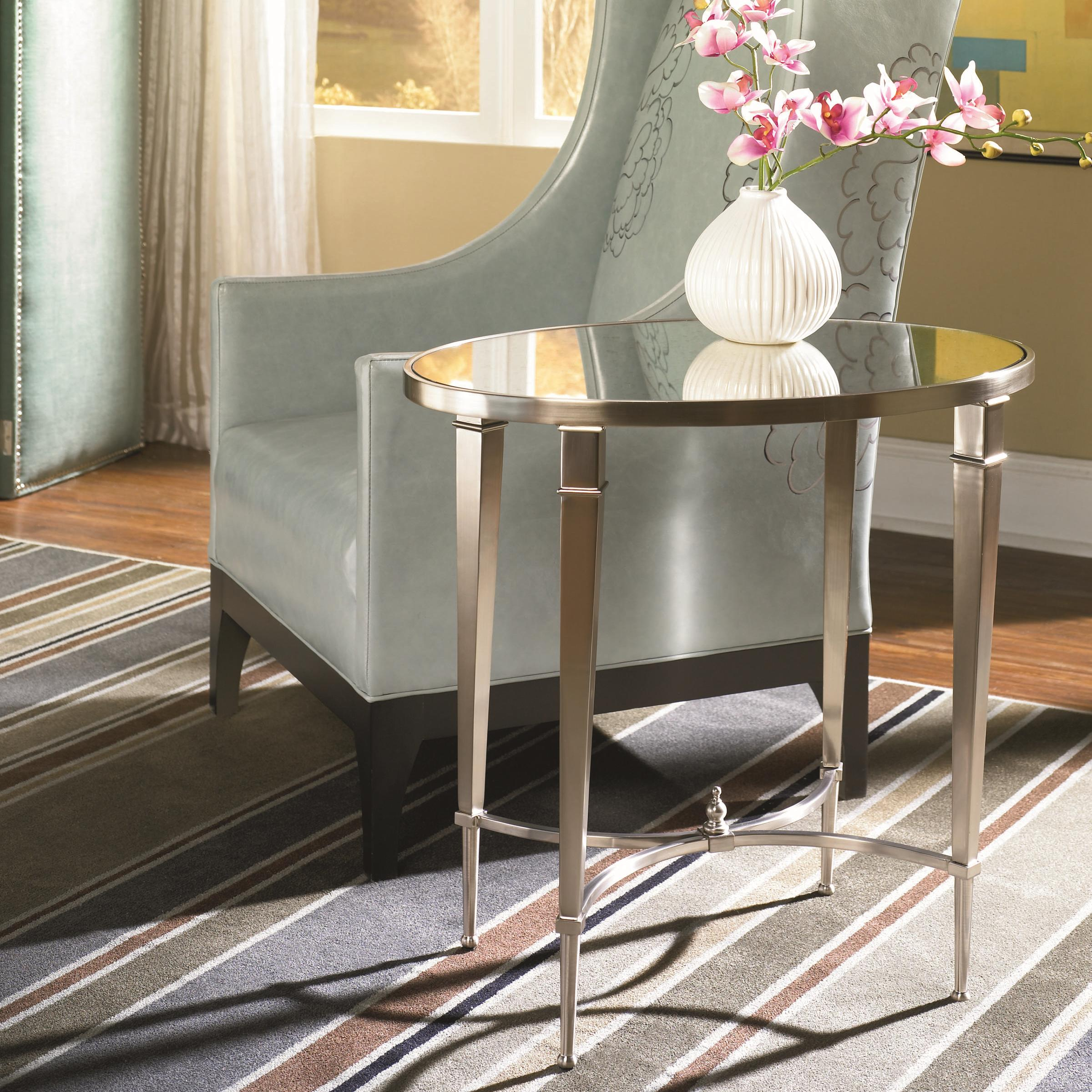 Antique Silver Nickel Oval End Table by Hammary