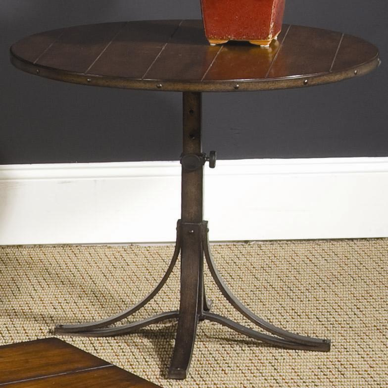 Adjustable Side Table For Recliner: Round Adjustable Accent Table By Hammary