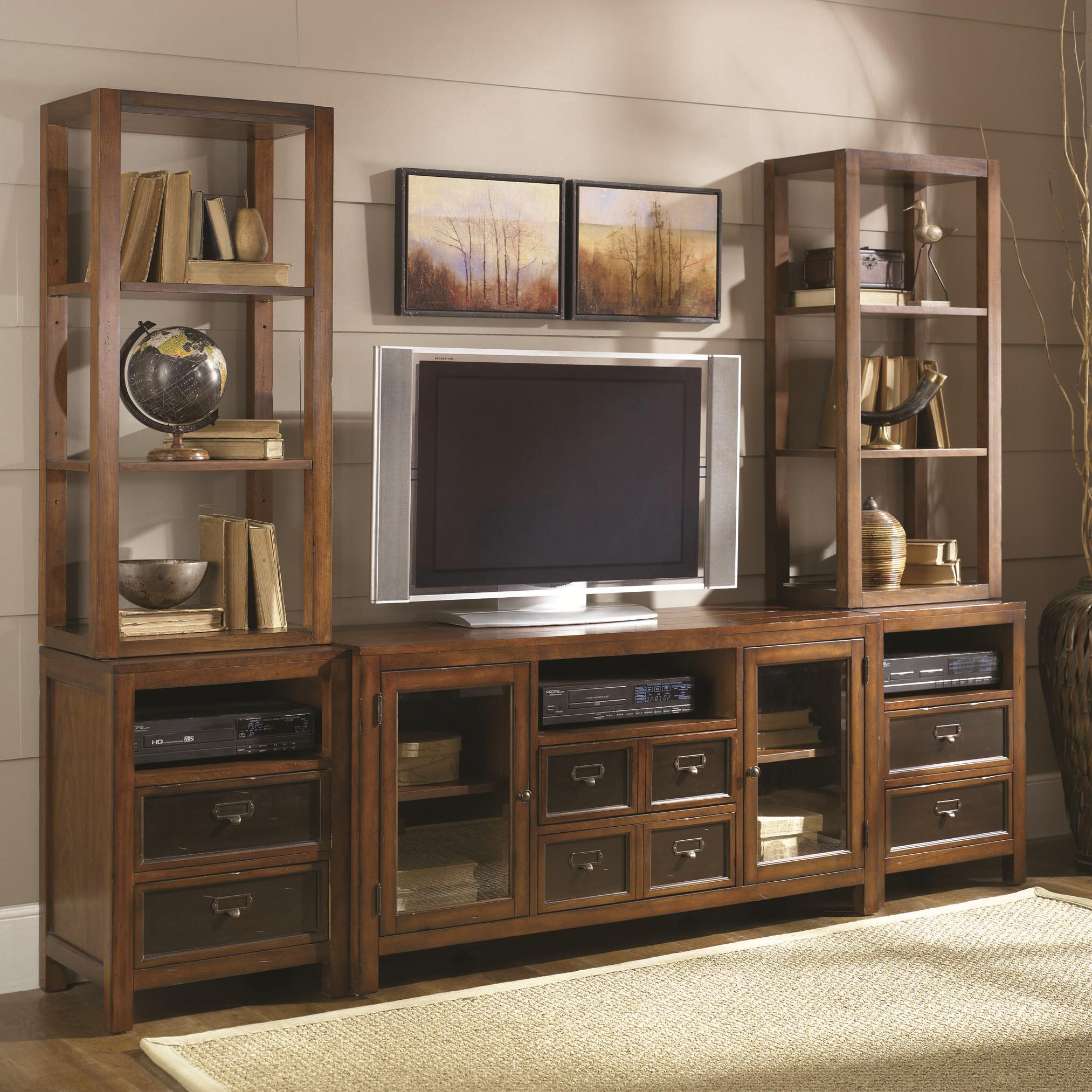 Six-Drawer Two-Door Entertainment Wall Unit with Shelving Storage ...