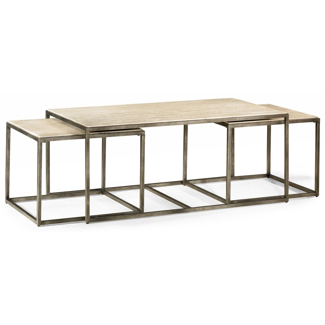 Bronze Nesting Coffee Tables: Rectangular Cocktail Table With Bronze With Nesting Tables