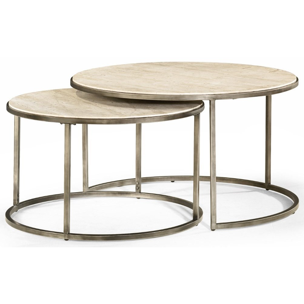 Beautiful Round Cocktail Table With Nesting Tables