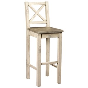 Farmhouse Barstool with Wooden Seat