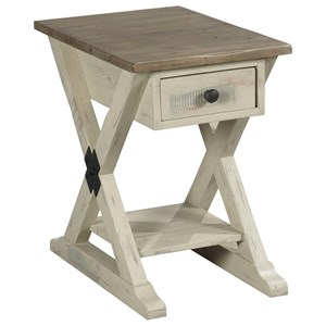 Farmhouse Chairside Table with Display Shelf