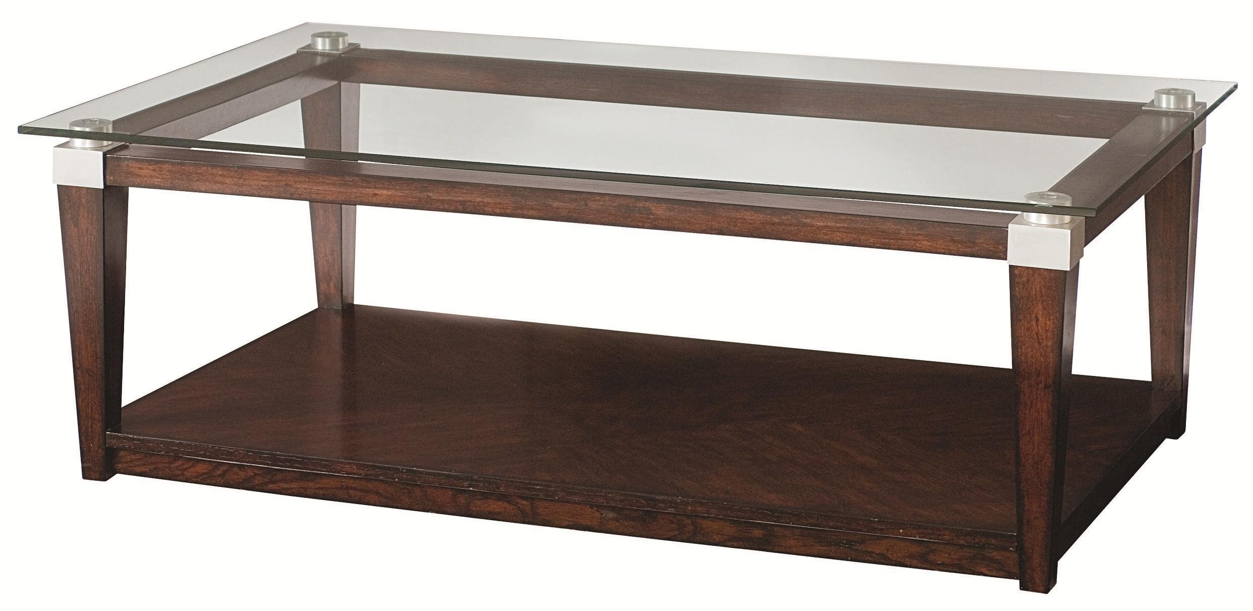 Contemporary Rectangular Coffee Table with Glass Top by Hammary