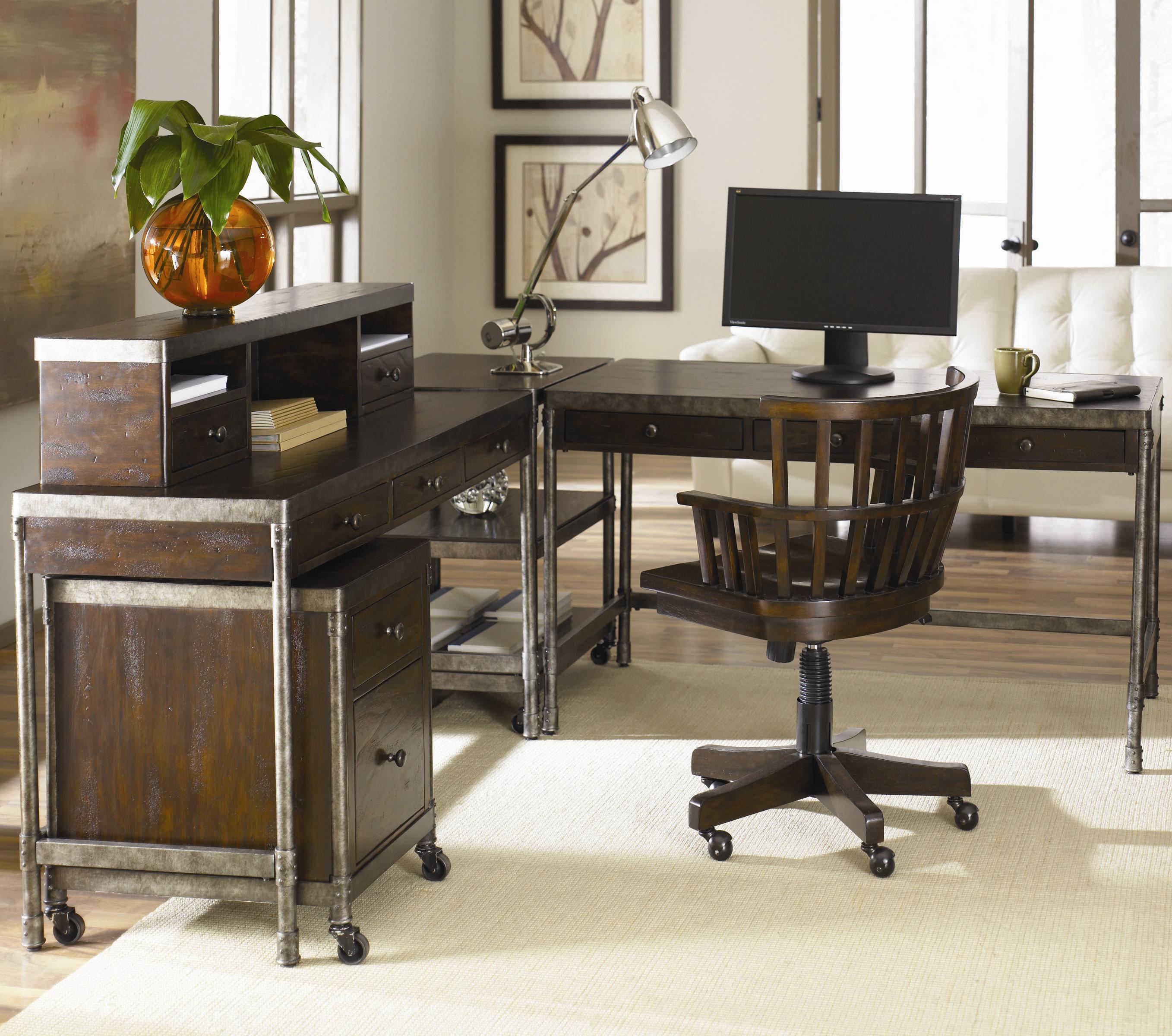 Metal puter Desk w Hutch by Hammary