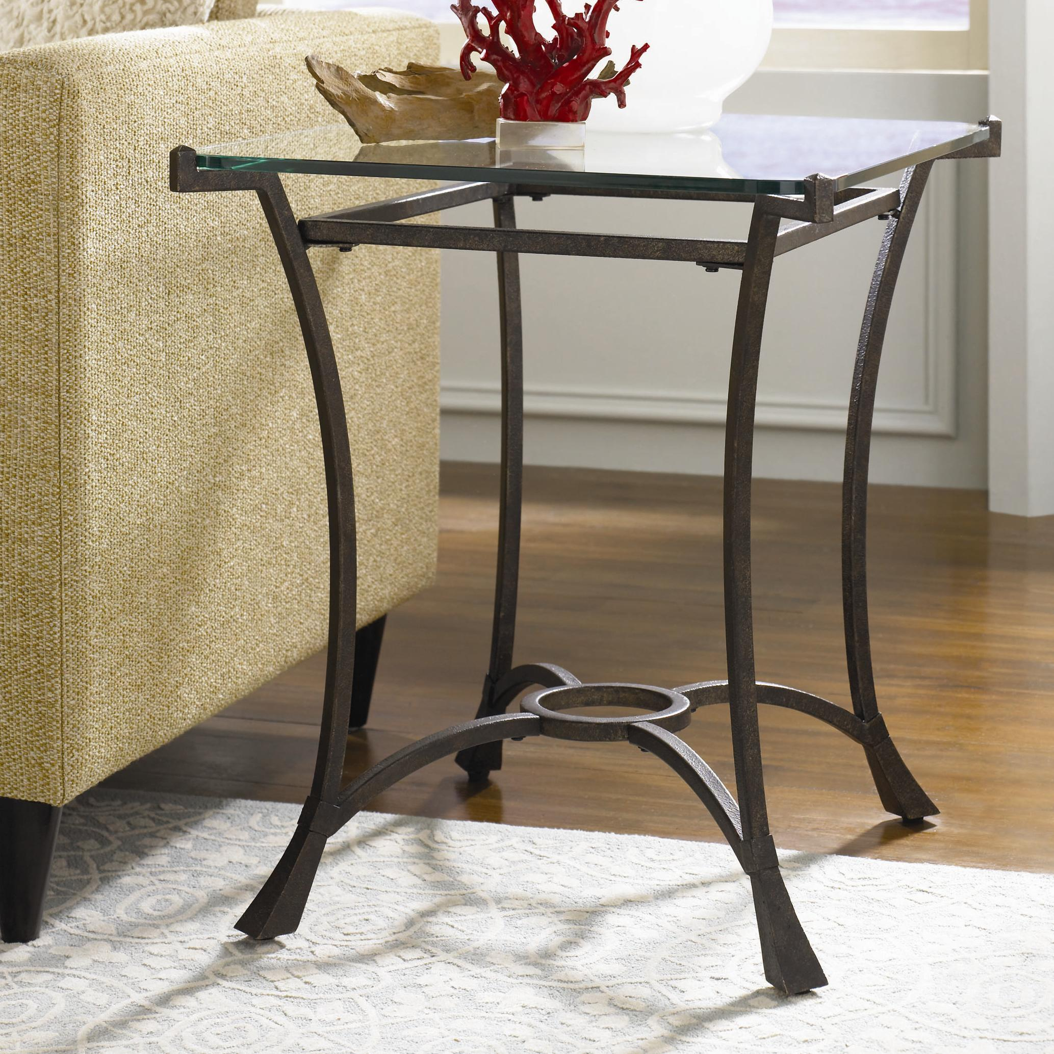Contemporary metal rectangular end table with glass top by hammary wolf and gardiner wolf furniture