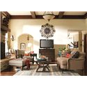 HGTV Home Furniture Collection Upholstery  Woodlands Chair and Ottoman Set with Cabin Home Furniture Style - Shown with Coordinating Collection Sofa and Matching Items from the Woodlands Collection