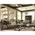 HGTV Home Furniture Collection Upholstery  Woodlands Relaxed Couch in Soft and Elegant Exposed Wood Cottage Style - Shown with Coordinating Collection Chair and Ottoman and Matching Items from the Woodlands Collection