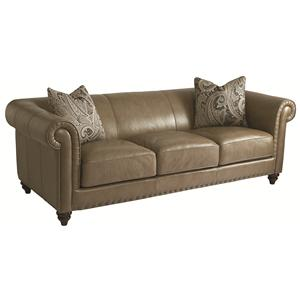 HGTV Home Furniture Collection Upholstery  Rusche Leather Sofa