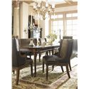 Hickory White Continental Classics Upholstered High-Back Dining Bench - Shown with Rectangular Dining Table and Upholstered Arm and Side Chairs