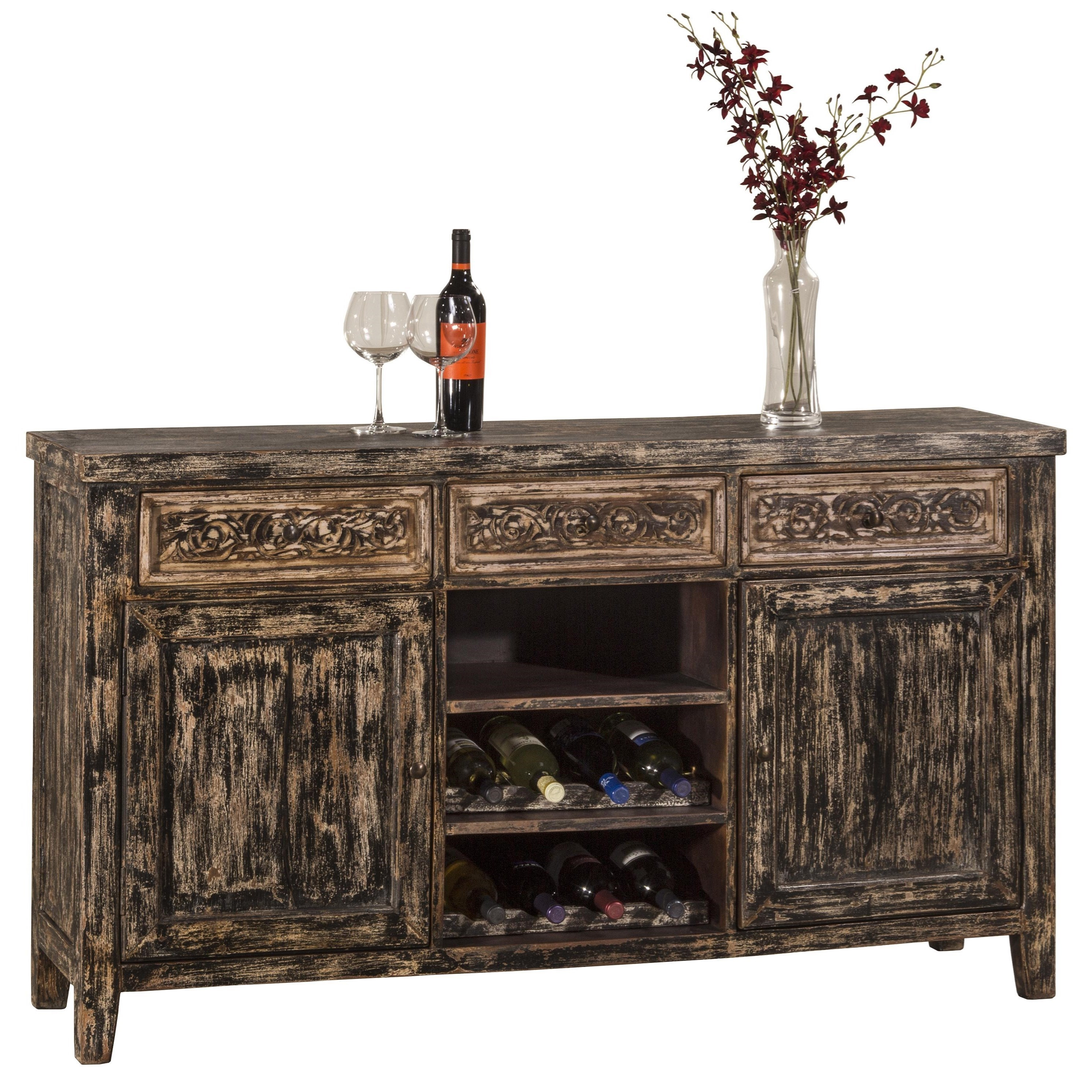 Sofa Table with Two Door Storage and Wine Rack by Hillsdale