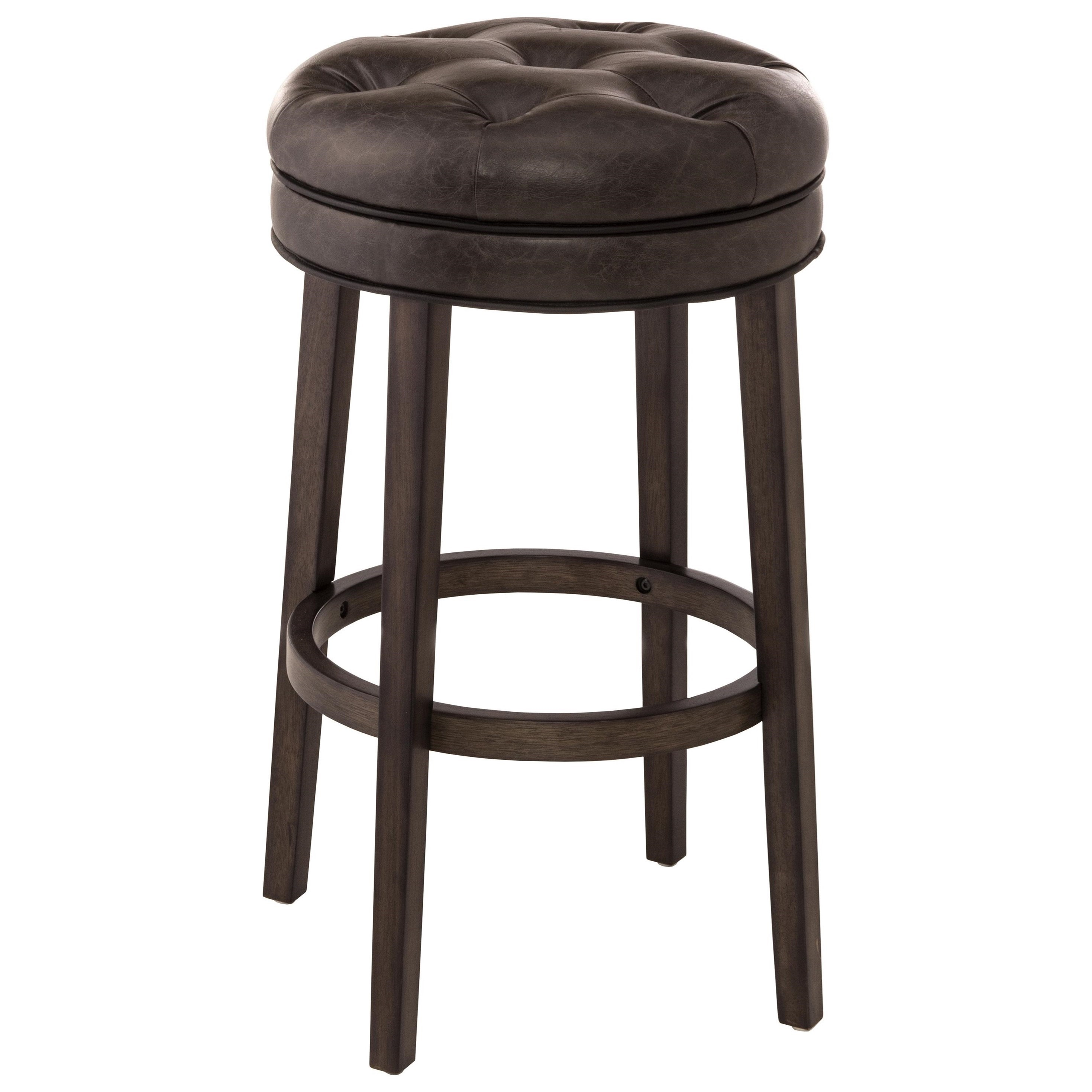 Backless Swivel Bar Stool With Upholstered Seat By