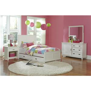 Hillsdale Bailey White 4 Piece Twin Bedroom Group with Trundle