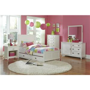 Hillsdale Bailey White 5 Piece Twin Bedroom Group with Trundle
