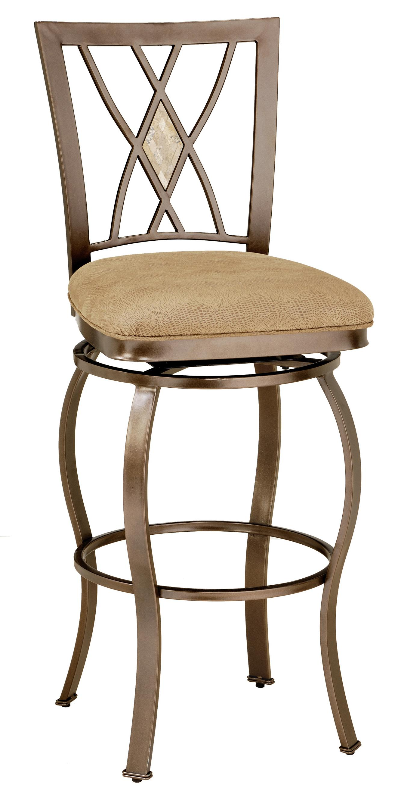 30 Bar Height Brookside Diamond Fossil Back Swivel Bar Stool By