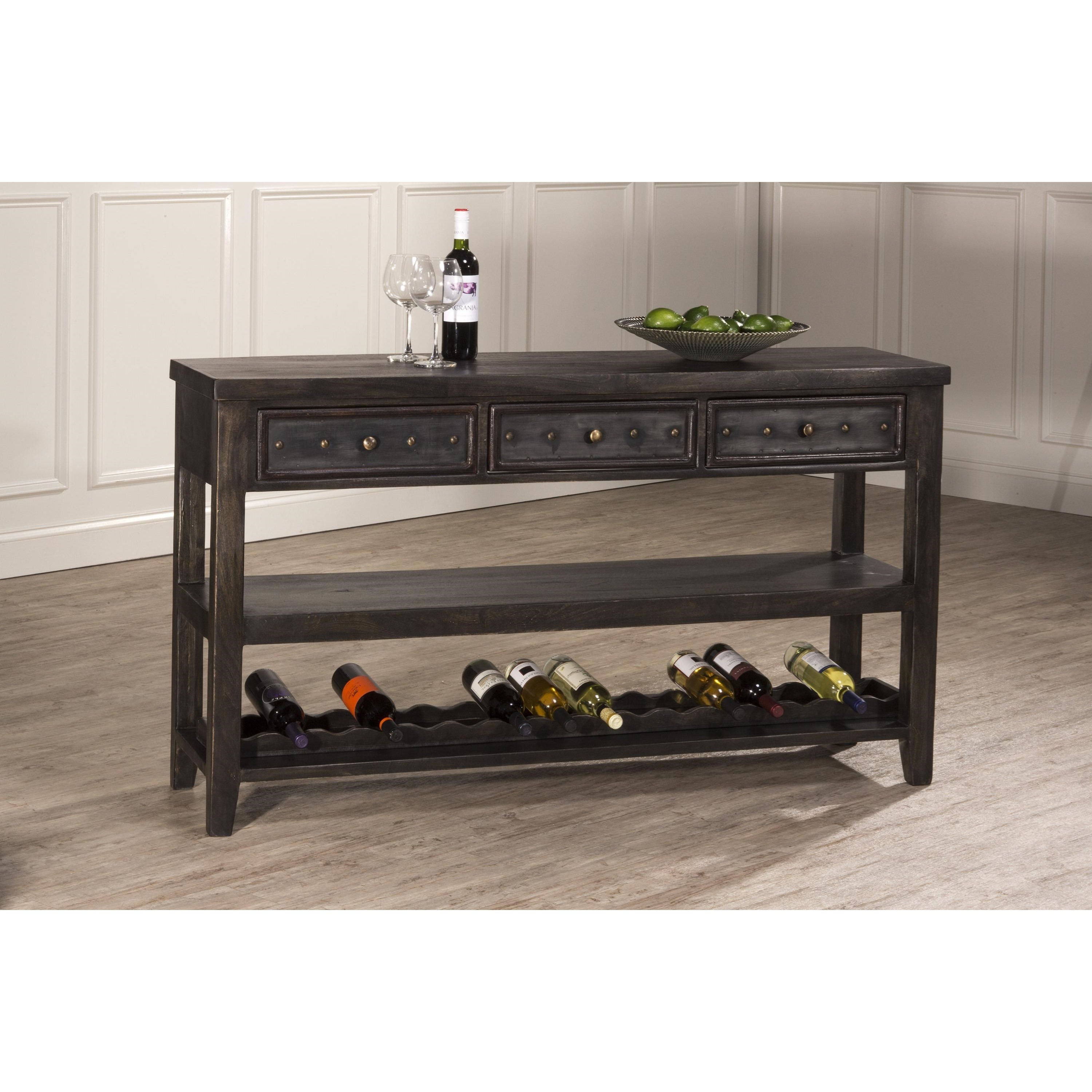 Sofa Table with Wine Rack and Studded Hardware by Hillsdale