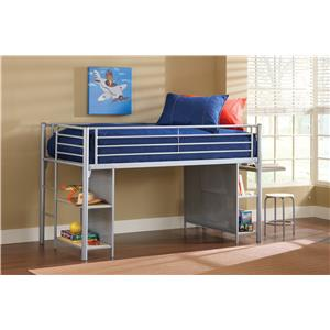 Hillsdale Brayden Loft Bed with Cloth Doors, Desk, and Stool