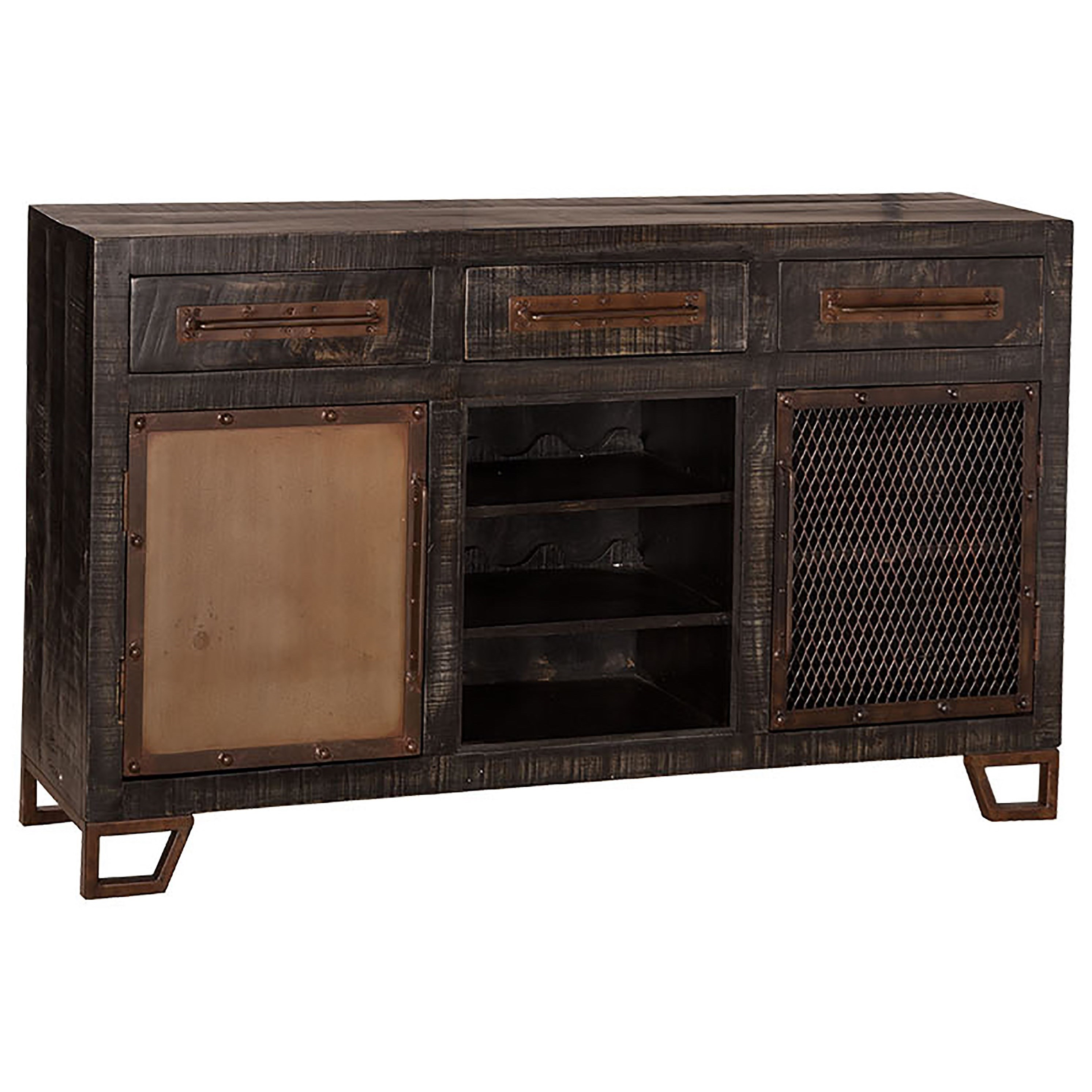 Rustic Sofa Table with Chicken Wire Doors and Wine Rack by