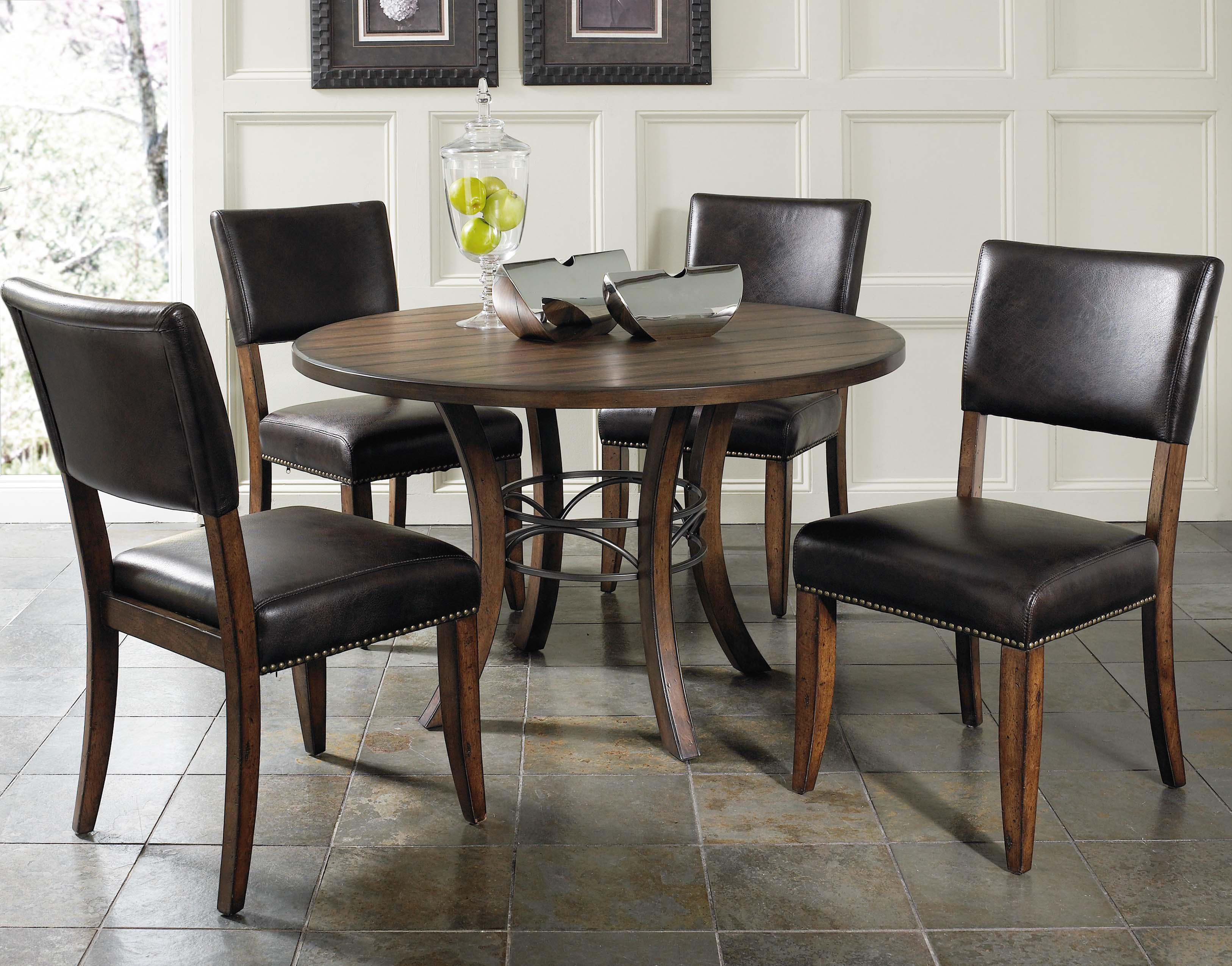 Wood Round Dining Table: Round Wood Dining Table With Metal Acent Base By Hillsdale