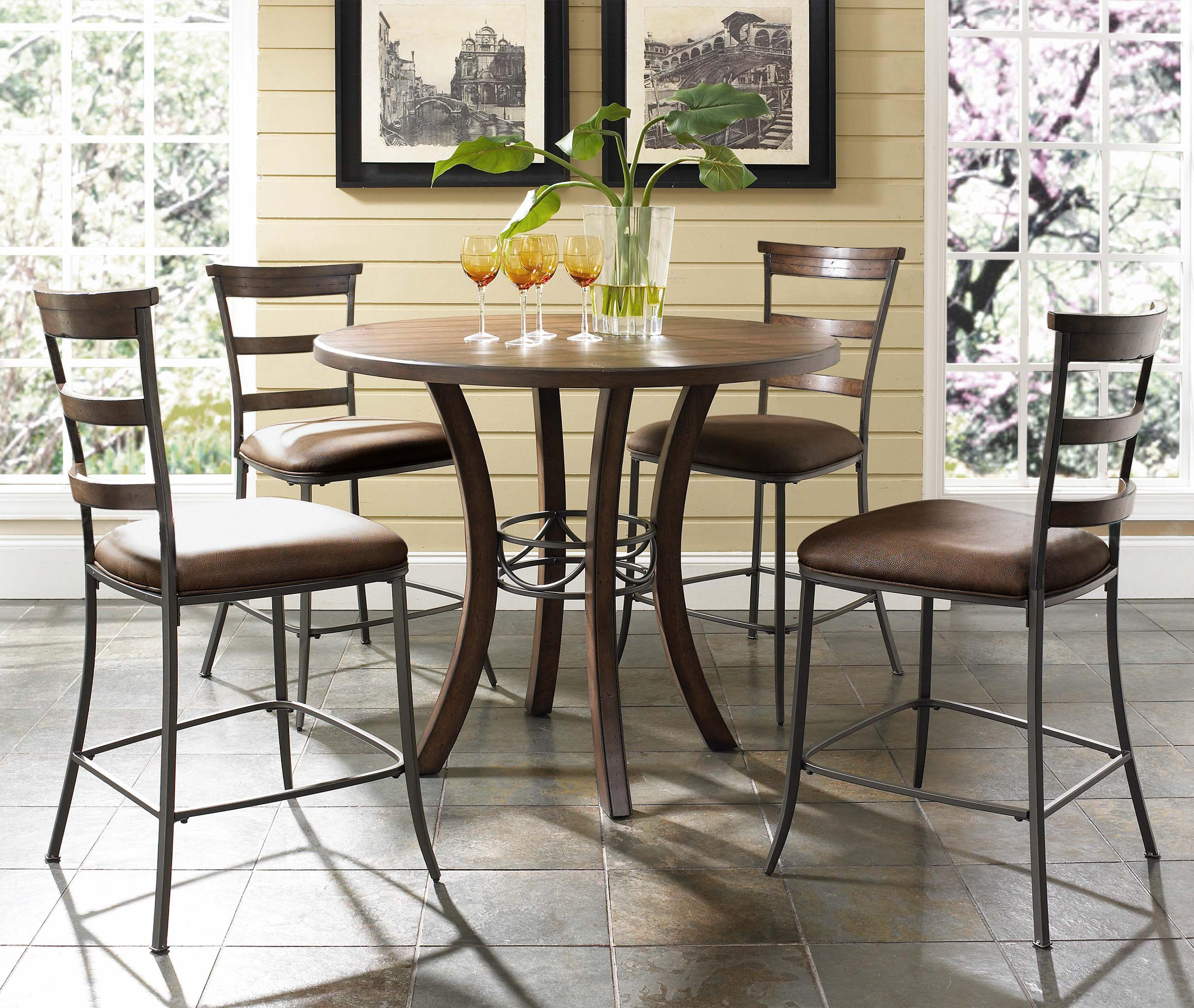 5 Piece Round Counter Height Table & Ladder Back Stools Set by
