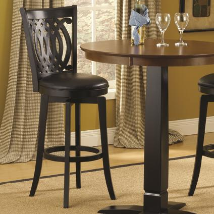 30 Inch Swivel Bar Stool With Upholstered Seat And Designed Back By