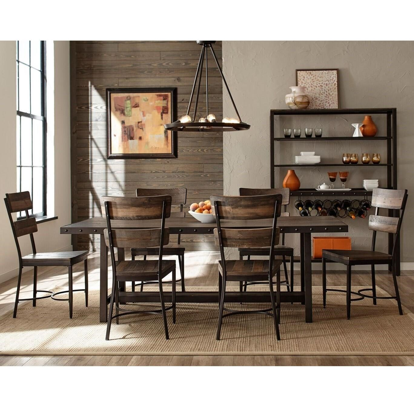 Industrial Dining Room Set With Seven Chairs By Hillsdale