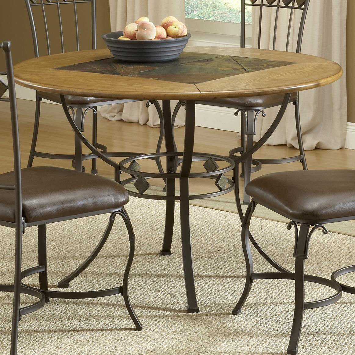 Stone Top Kitchen Table Round Wood Stone Top Dining Table By Hillsdale Wolf And