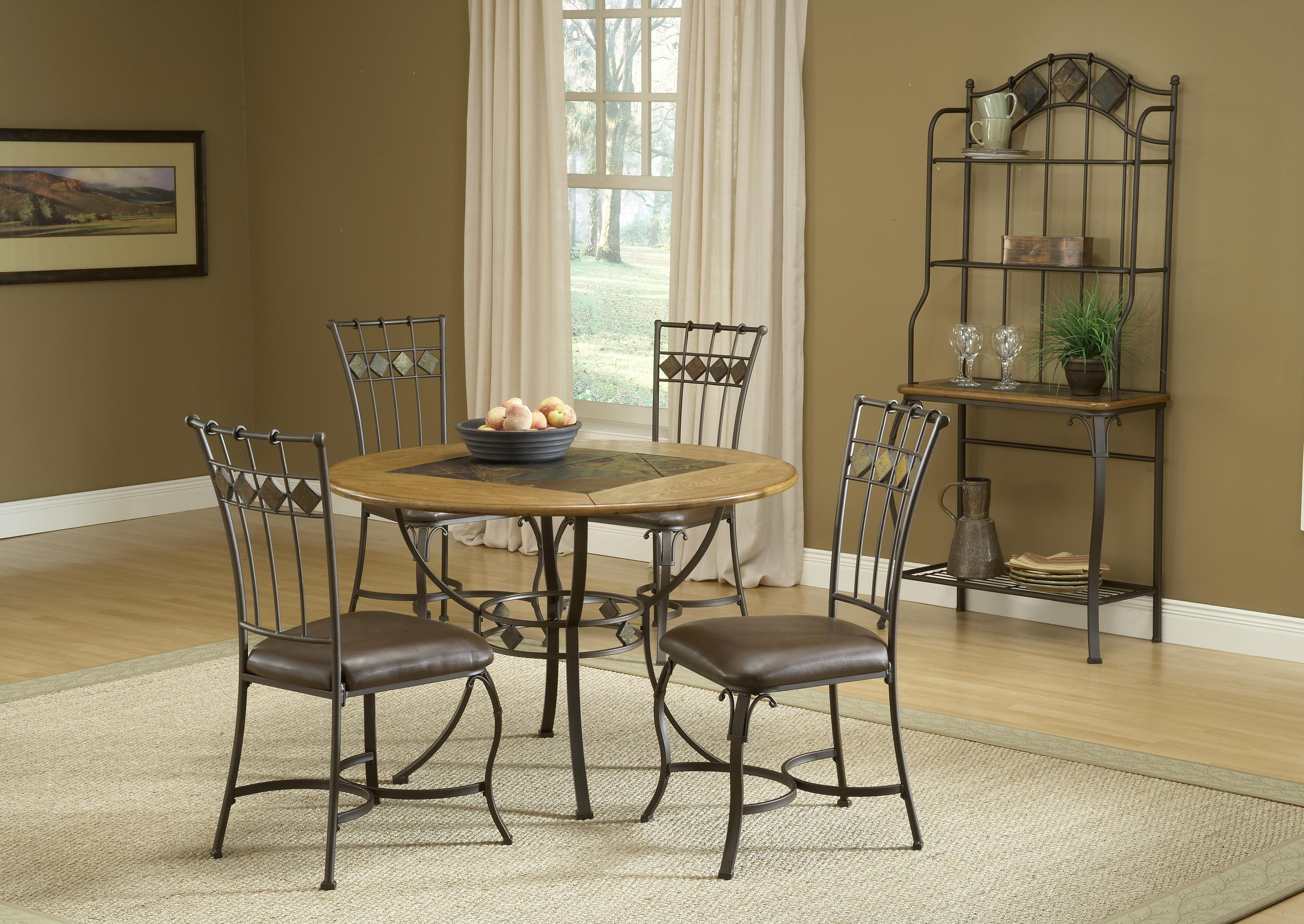 5-Piece Round Dining Set w/ Slate Chairs by Hillsdale | Wolf and ...