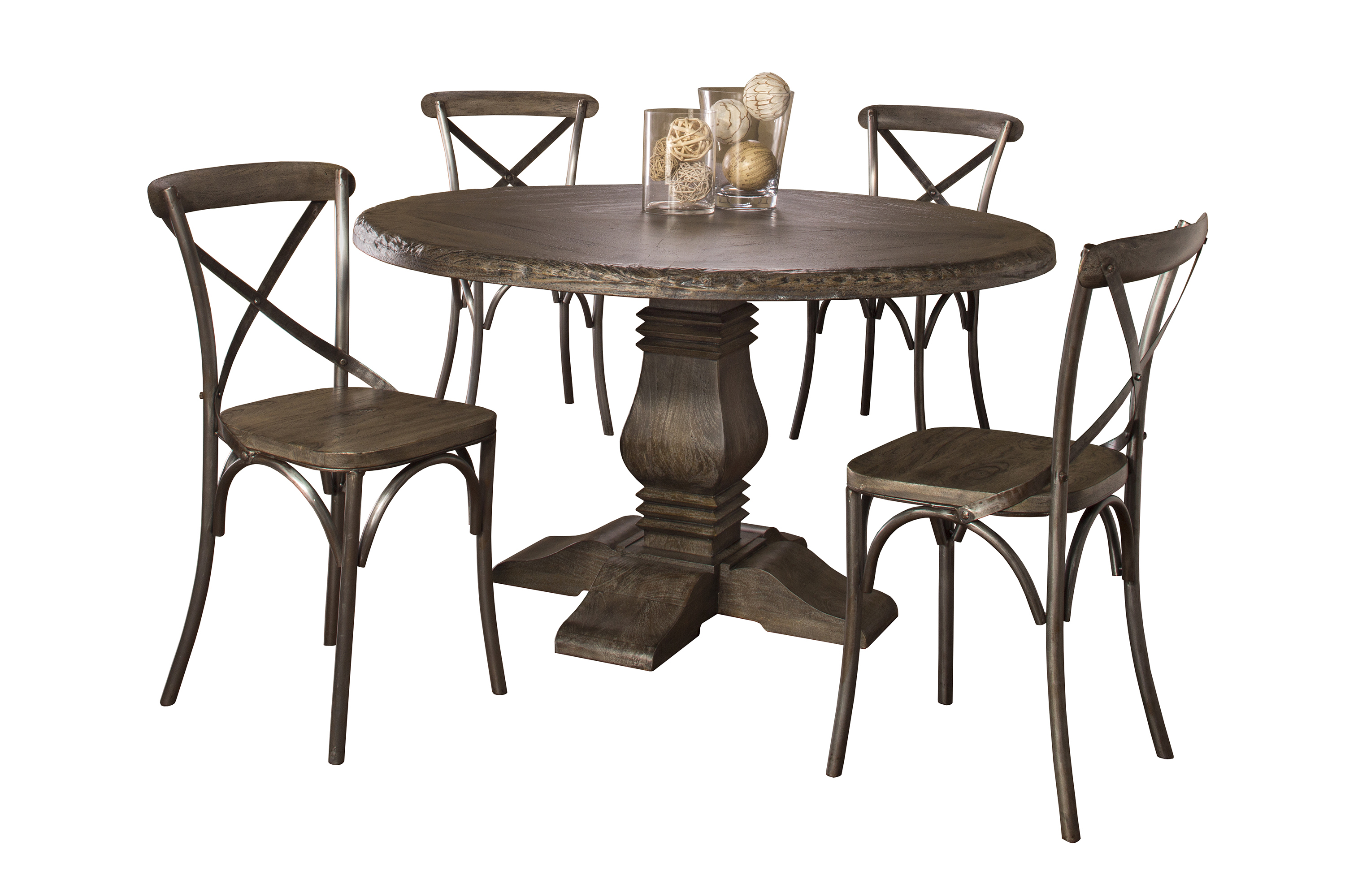 5 Piece Round Dining Set With X Back Chairs