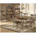 "Hillsdale Montello Four Shelf Baker's Rack - Shown with Stool, 45"" Round Dining Table, and Dining Chairs"
