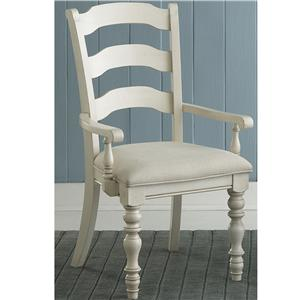 Hillsdale Pine Island Dining Ladder Back Arm Chairs