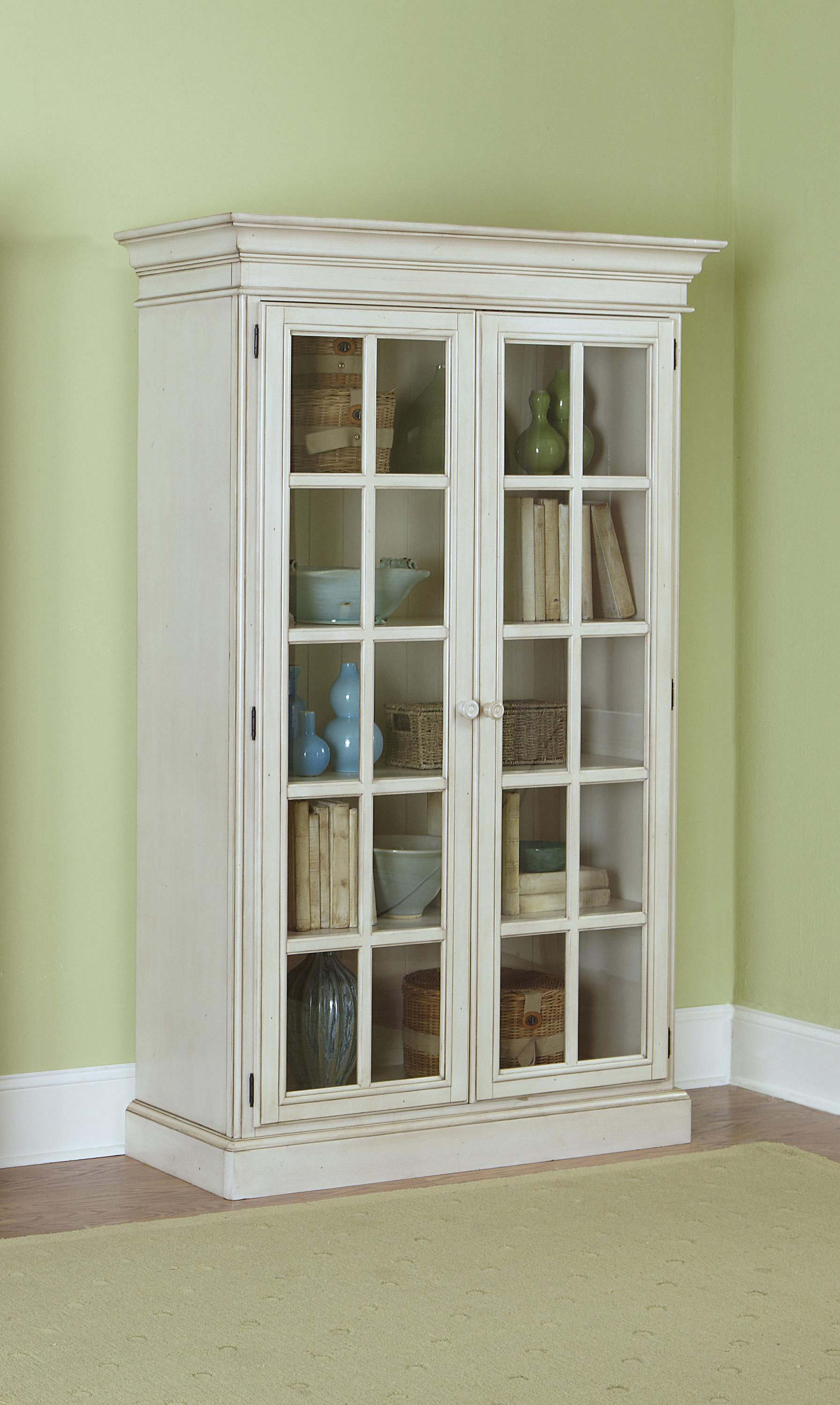 Large Library Cabinet With 2 Glass Doors And Crown Molding By
