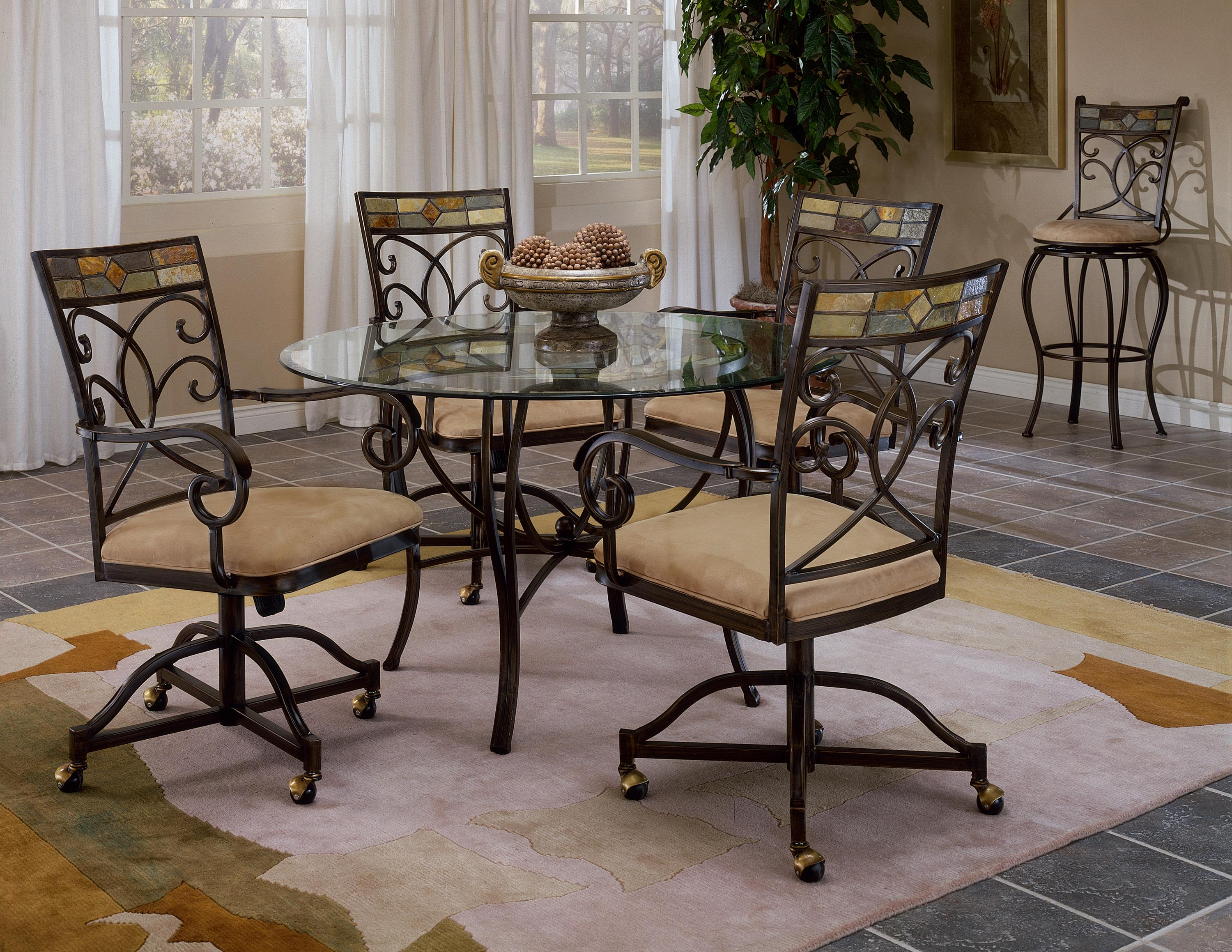 Scrolling 5 Piece Dining Set With Casters By Hillsdale