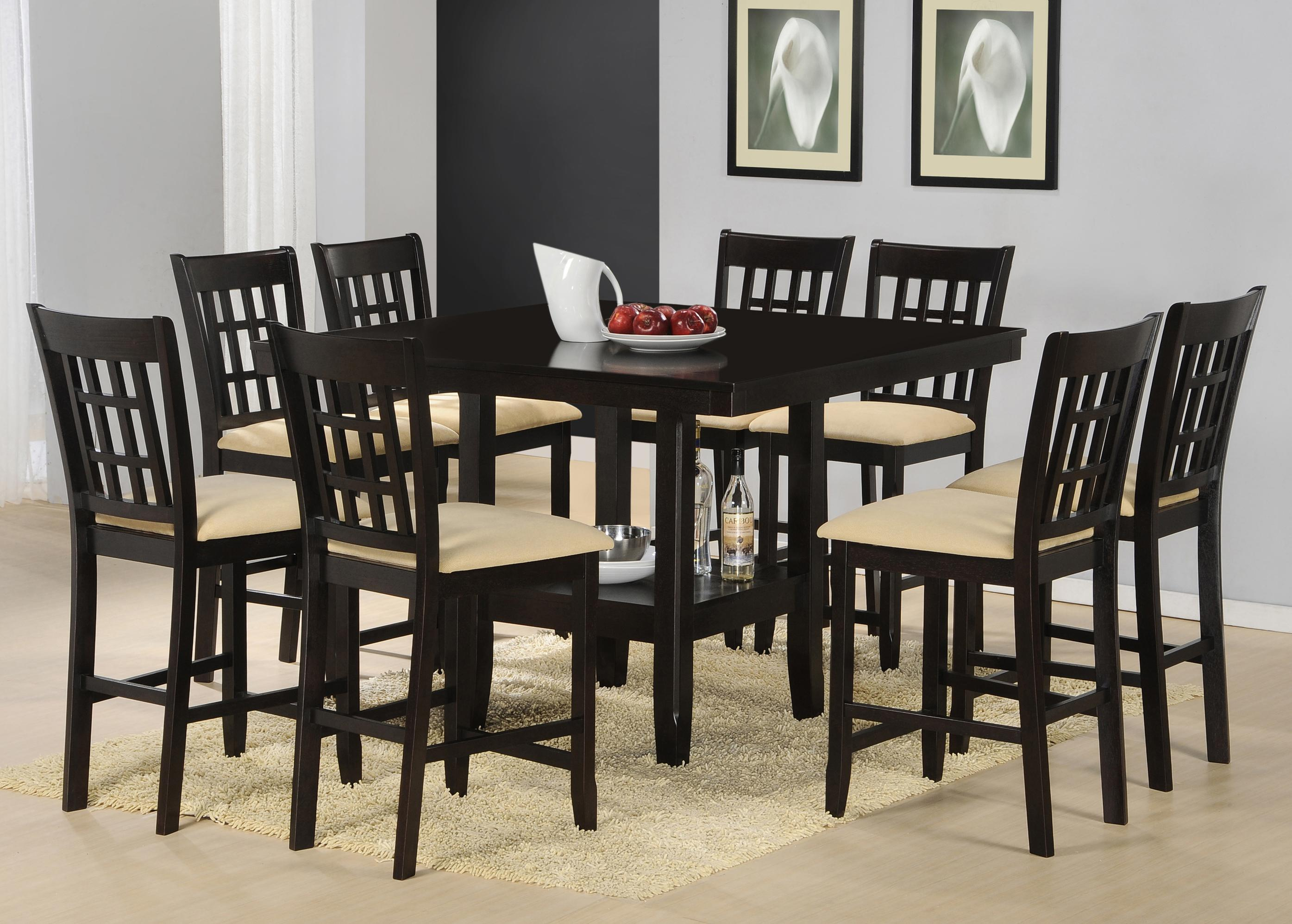 9 Piece Counter Height Gathering Table W/ Wine Rack Dining Set