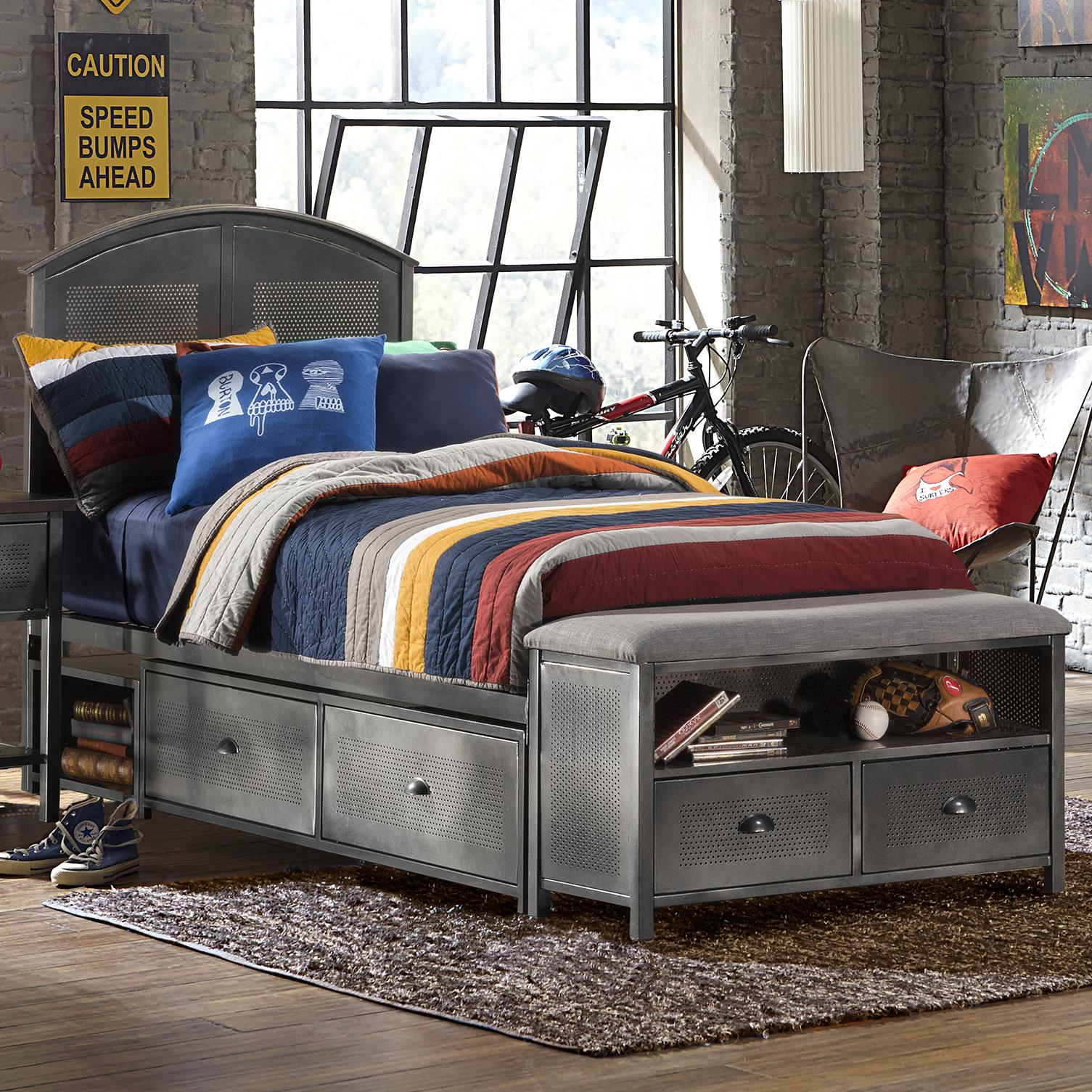 Bench By Bed: Contemporary Full Storage Bed Set With Footboard Bench By
