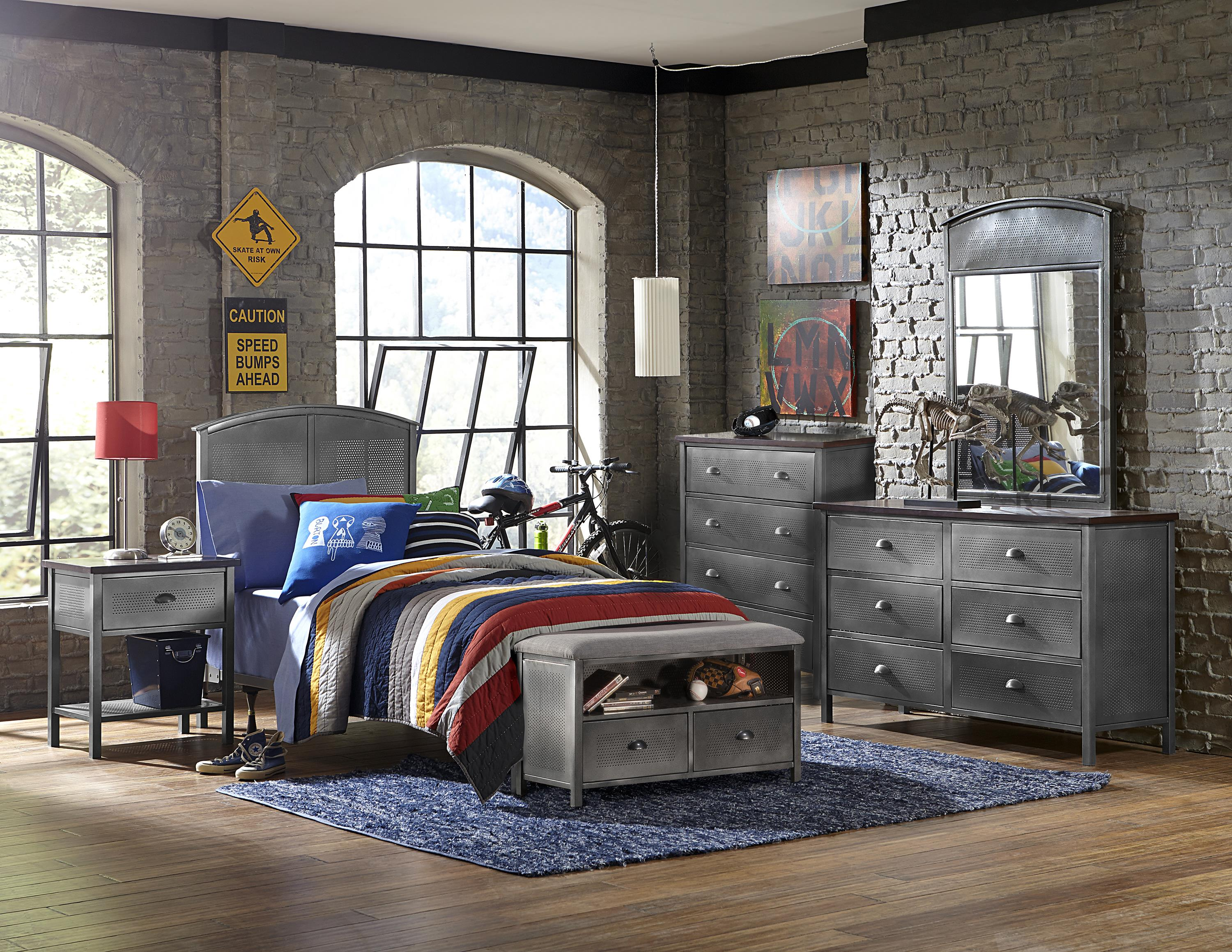 Bedroom Storage Bench Cherry contemporary five piece panel twin bed set with storage bench
