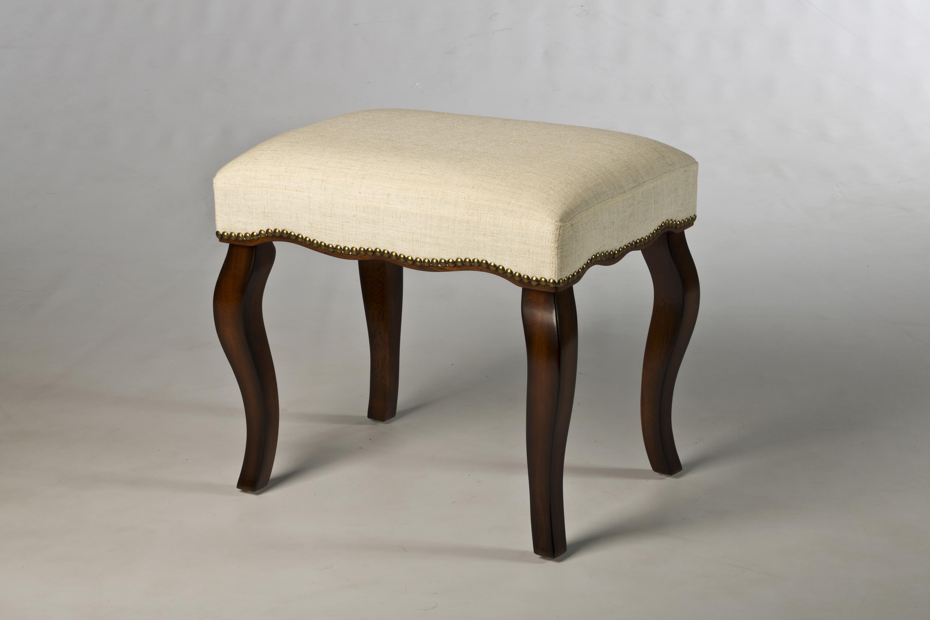Hamilton Backless Vanity Stool With Curved Legs By