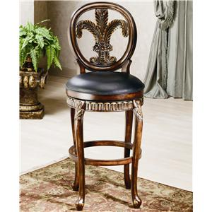 "Hillsdale Wood Stools 31"" Bar Height Fleur De Lis Stool"