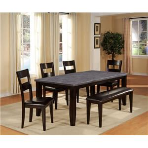 Holland House 1289-BLUE 6 Piece Dining Set with Bench