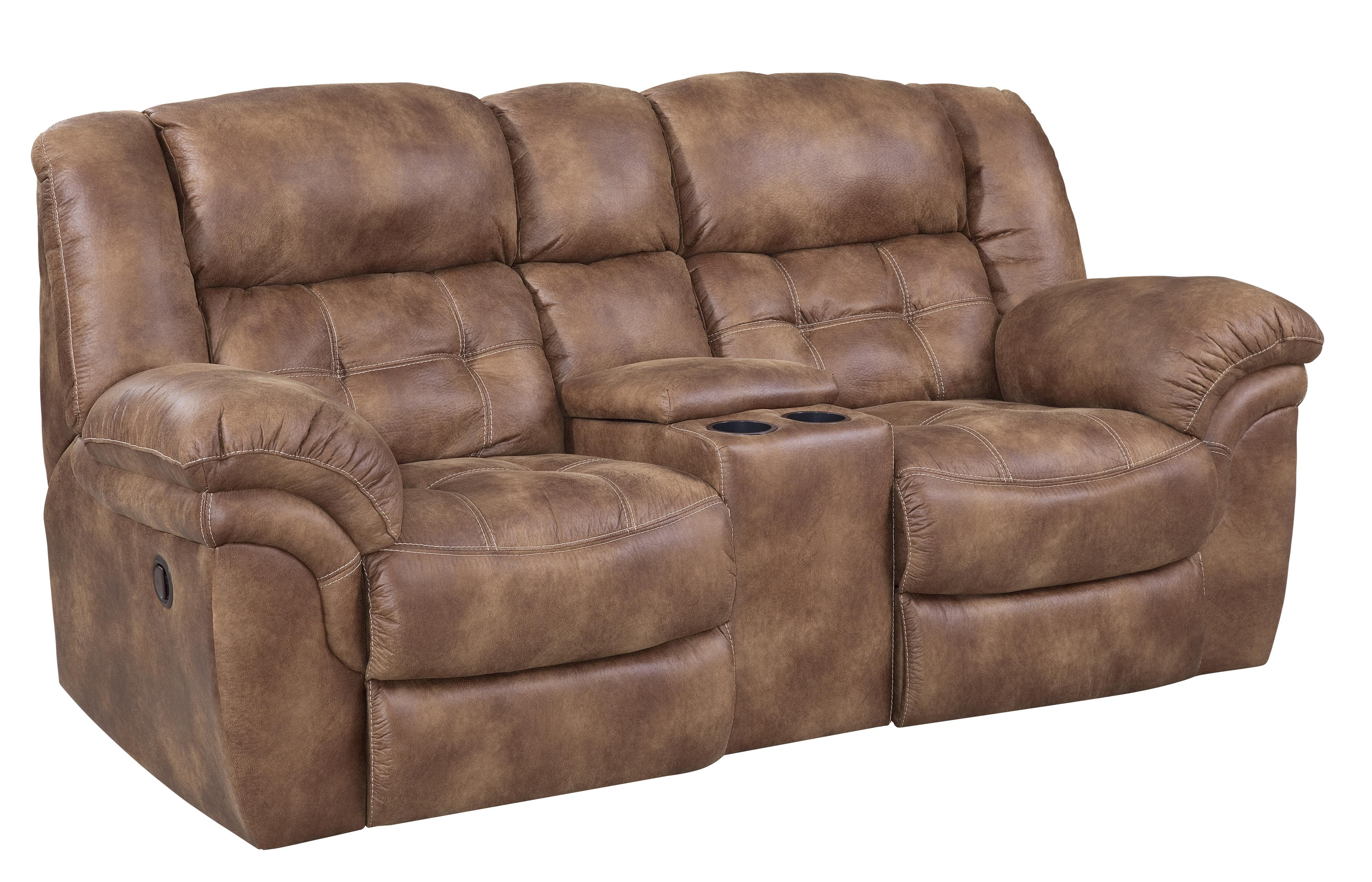 Casual Power Reclining Console Loveseat With Cupholders By