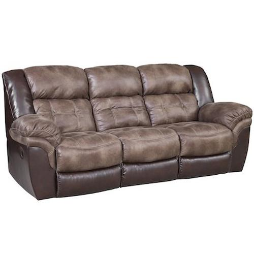 Casual Faux Leather Reclining Sofa With Pillow Top Arms By