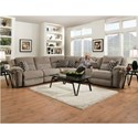 HomeStretch Catalina 162 Casual Power Reclining Sectional Sofa with USB Charging Cup Holders