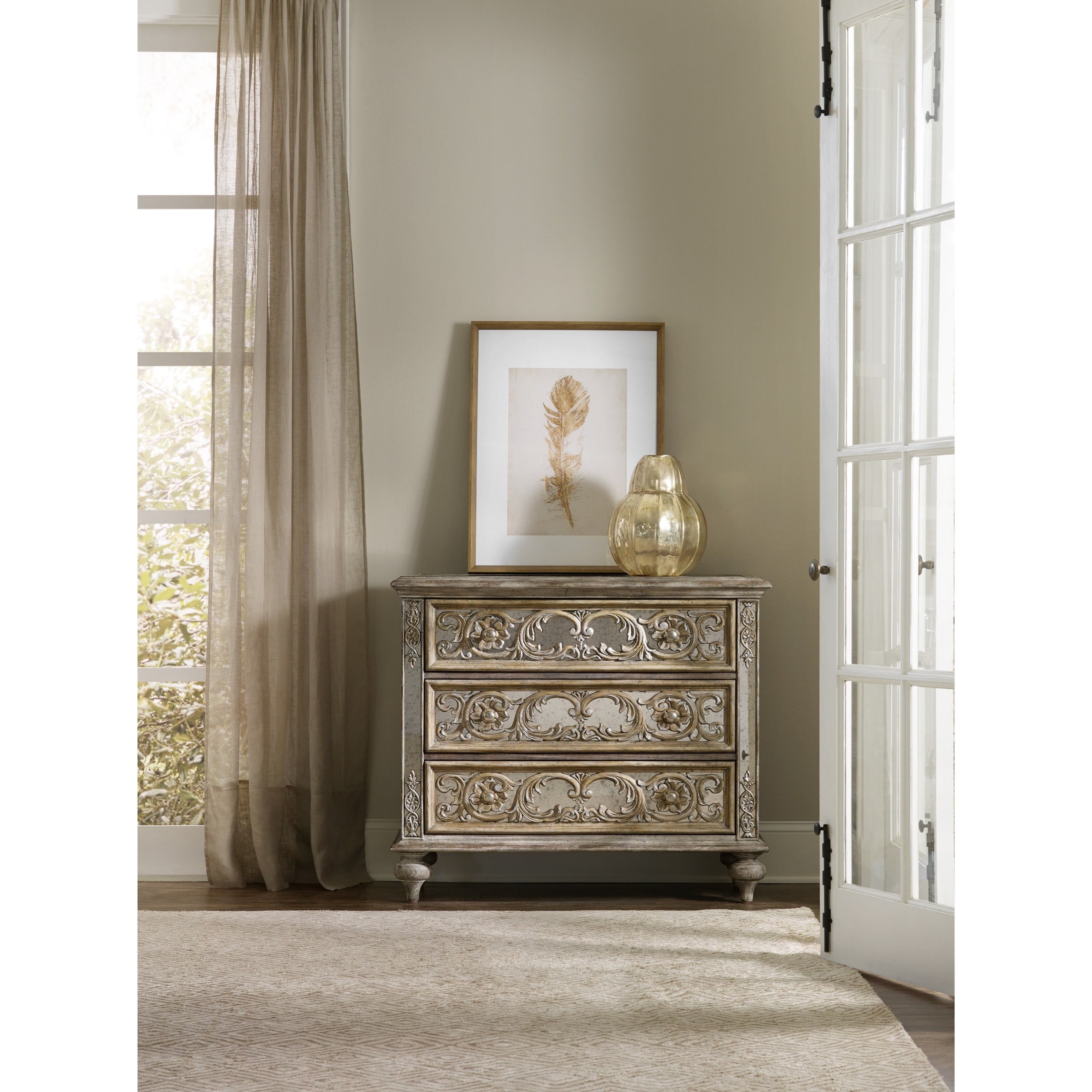 Ornate Mirrored Chest With 3 Drawers. By Hooker Furniture