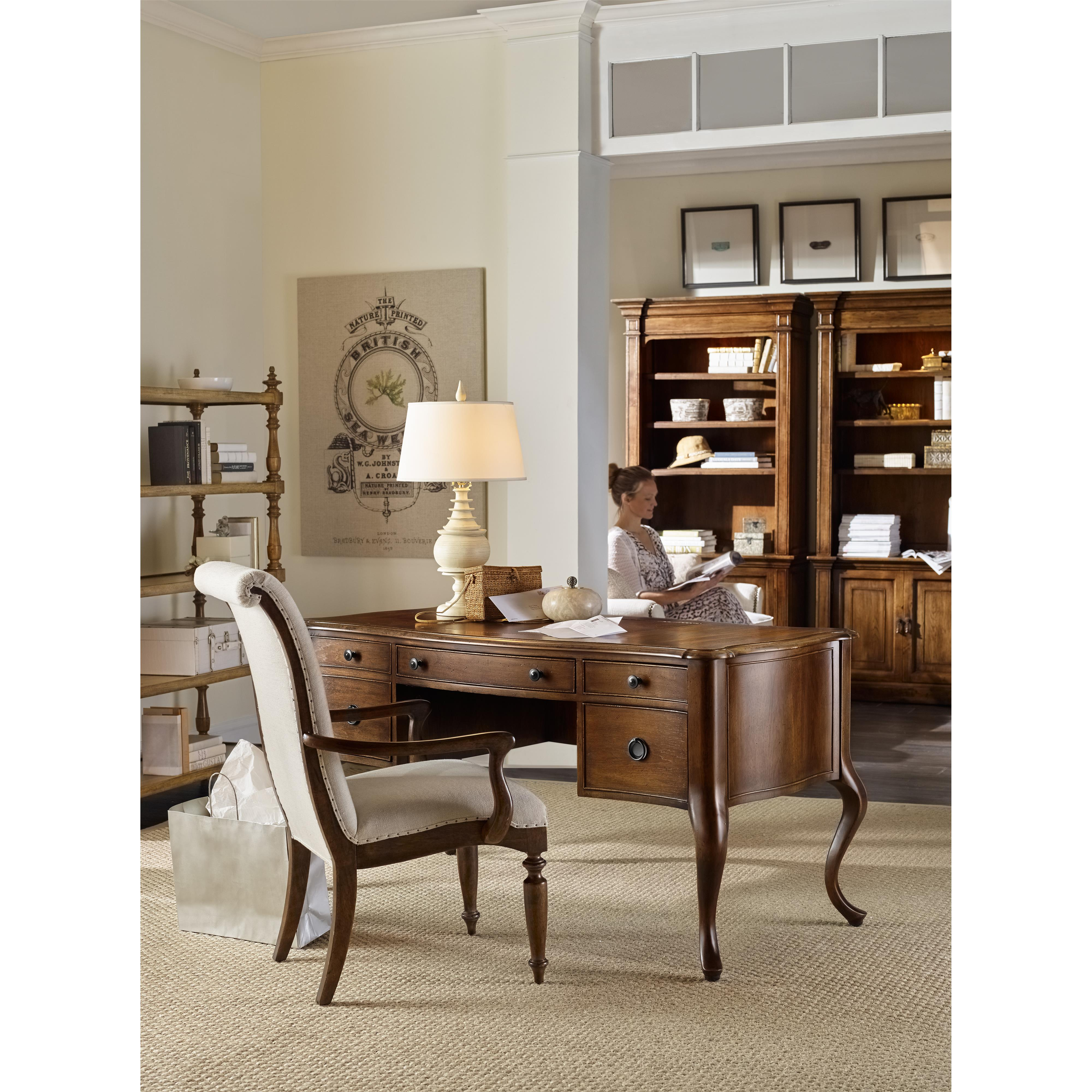 Writing Desk With Bonded Leather Top Insert By Hooker Furniture Dining Room