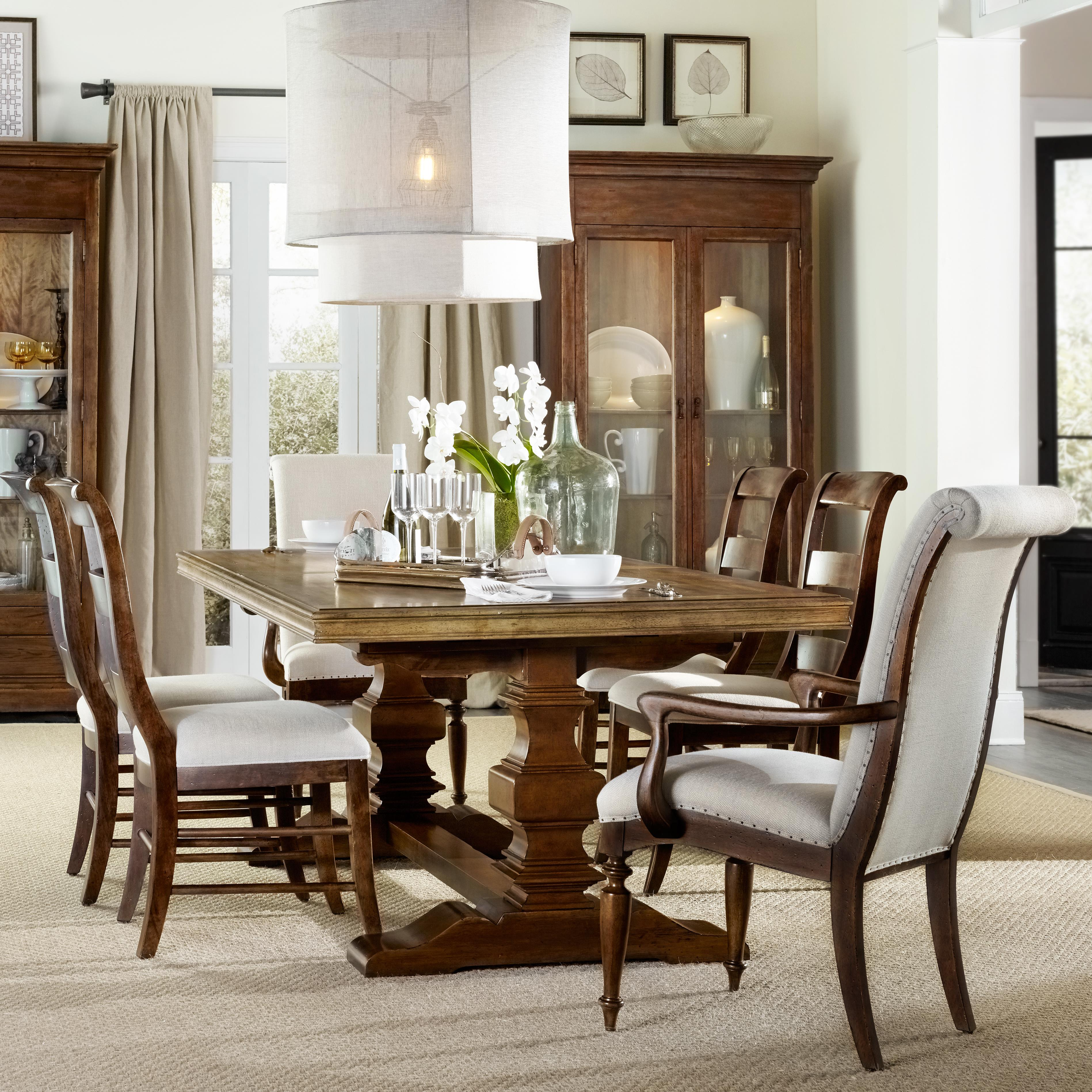 Lovely 7 Piece Dining Set With Trestle Table